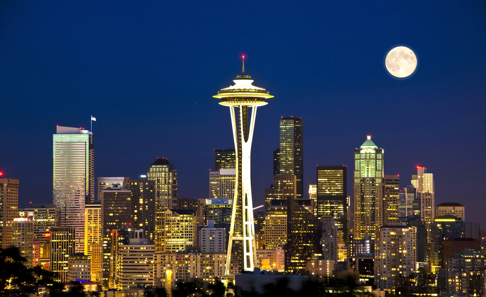 Seattle nighttime skyline, moon, Space Needle