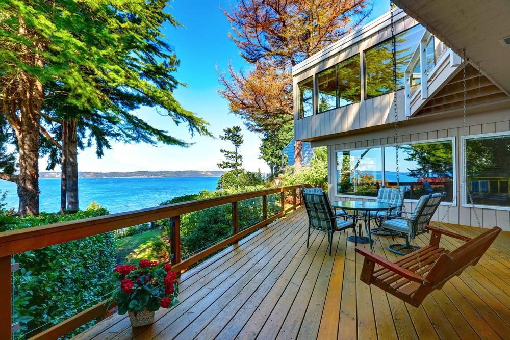 beautiful outdoor deck, view, water, northwest