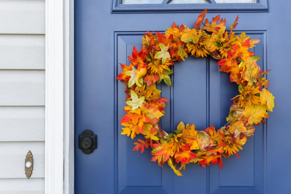 Front door, blue door, home, decorative autumn wreath