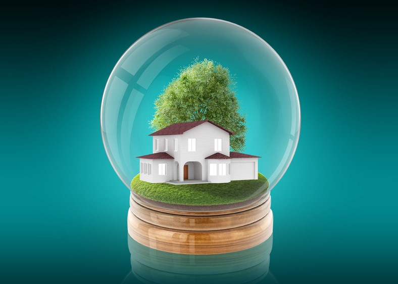 glass ball with house inside, housing market prediction