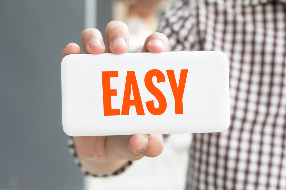 person holding easy sign, hard money loan