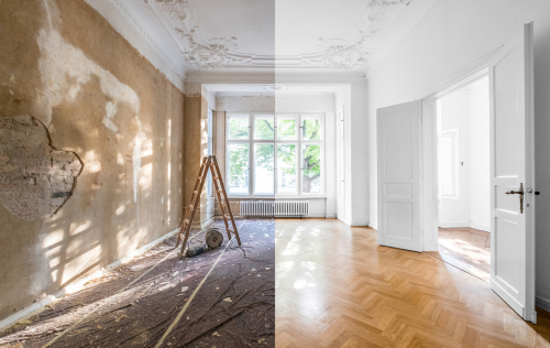 Renovated room, before after, house flip, house flipping tips