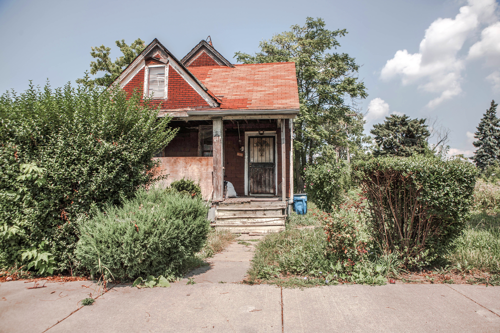 run down house, overgrown yard, fix and flip