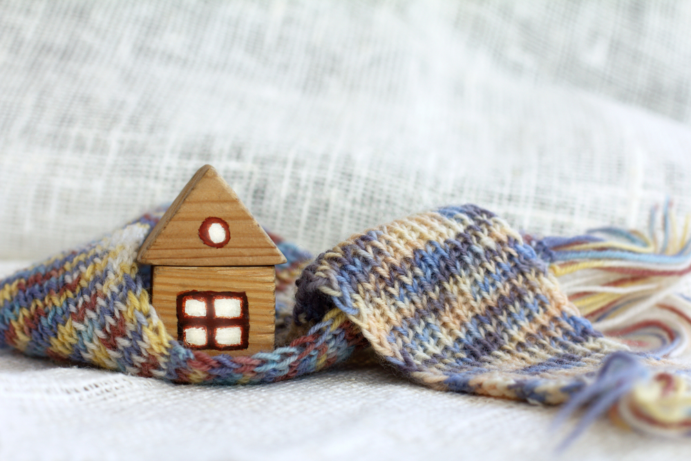 small wooden house, scarf, winter, maintenance